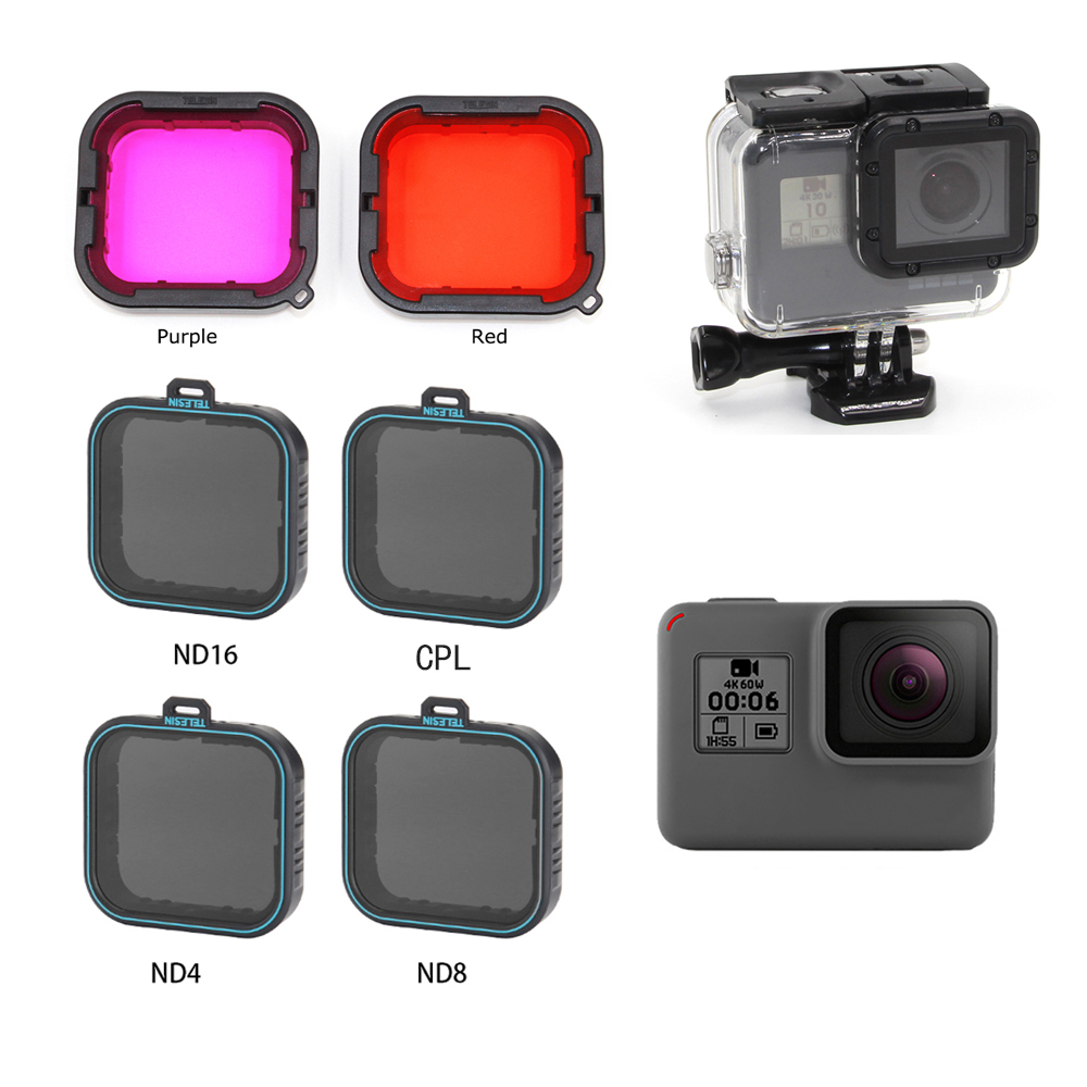 TELESIN Lens Diving Filter Polarizied Filter CPL Filtros ND 4/8/16 Filters For GOPRO HERO 5 6 7 Hero7 Hero5  Hero6 Protector