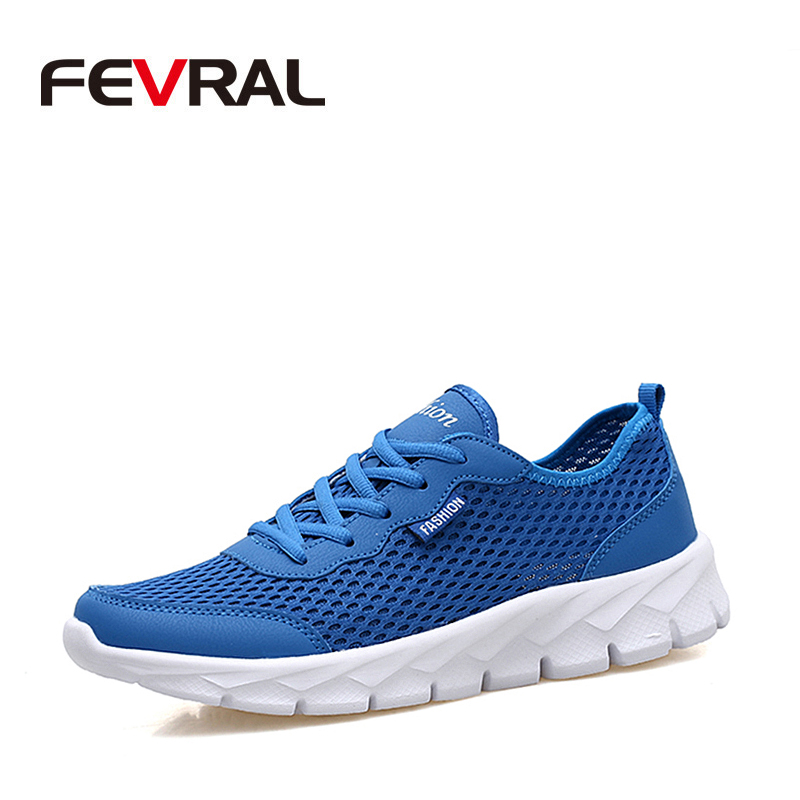 FEVRAL Brand 2019 New Summer Super Sneakers Men Light Casual Shoes Breathable Air Mesh High Quality Shoes for Men Slip On Shoes