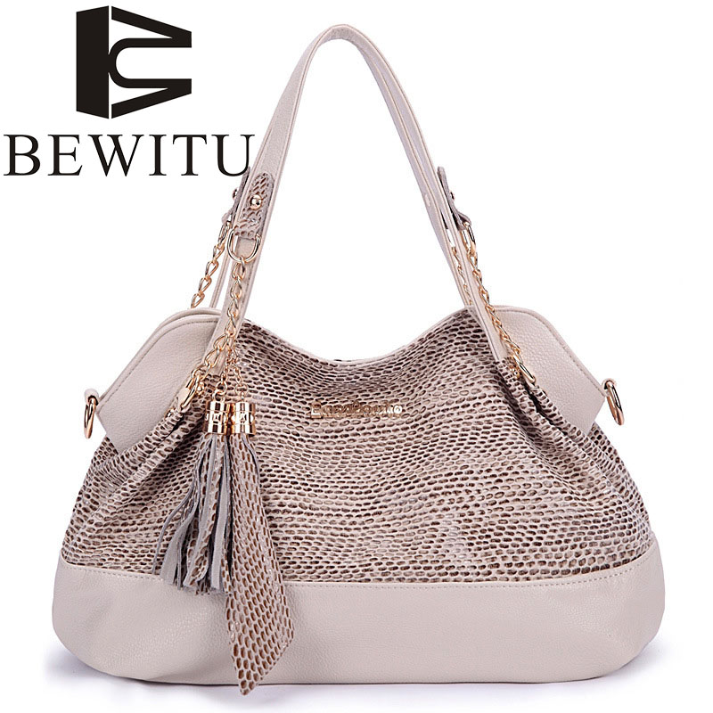 BEWITU fashion serpentine handbag female 2017 new shoulder bag European and American style chain snake pattern lady handbag