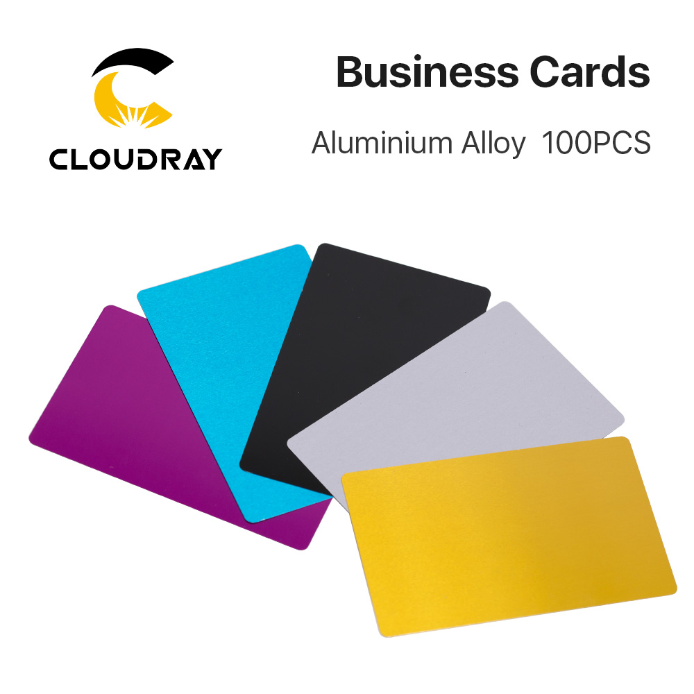 Cloudray 100PCS/LOT Business Name Cards  Multicolor Aluminium Alloy Metal Sheet Testing Material For Laser Marking Machine