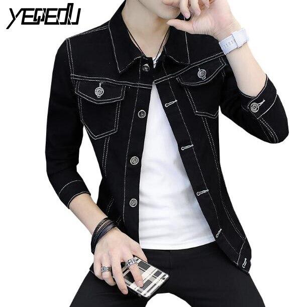 #3430 2018 Spring Autumn Blue/Black denim jacket men Slim Jaqueta masculina Fashion Mens jackets and coats Jaqueta jeans Teens