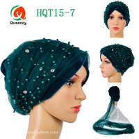 Promotion African headtie gele Soft Velvet net turban with beads Multi-colored fashion African scarf one pieces per pack .