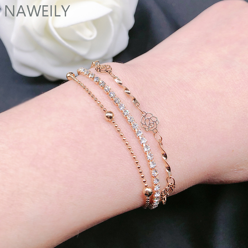 Luxury 3 layers CZ Diamond Bracelets Brand Gold Plated Camellia Full Rhinestone Chains Bangles& Bracelet Women Bijoux Gift  bracelet