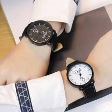 Mens Womens Simple Fashion Leather Quartz Wrist Lovers Watch