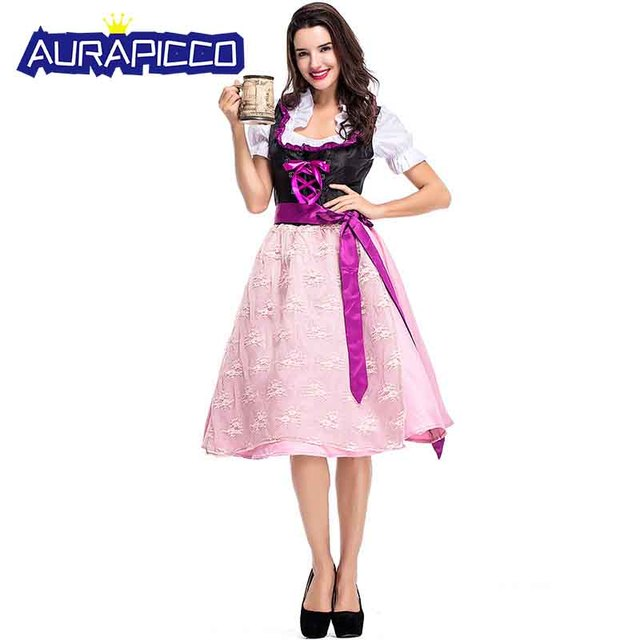 a24bdb707bc US $30.79 30% OFF|German Oktoberfest Costume Dirndl Women Traditional  Bavarian Beer Maid Cute Pink Dress Party Stage Drama Cosplay Halloween  Dress-in ...