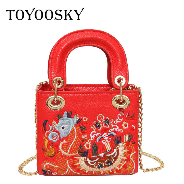 9d5a6fb53676 TOYOOSKY Women Classic Handbags Bag Embroidery Dragon Bag For Lady Ethnic  Style Shoulder Bags Women Leather Crossbody Bags