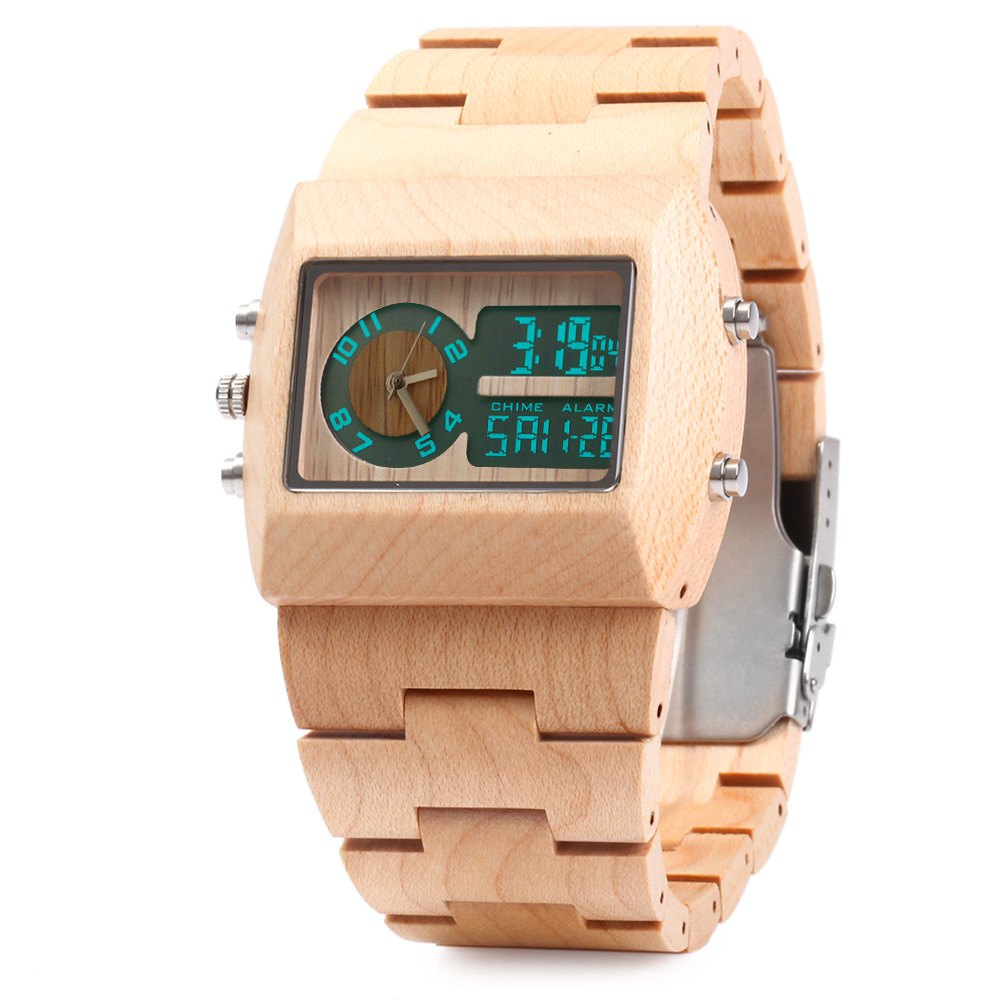 ФОТО BEWELL ZS-W021A Bamboo Wooden Men Quartz Watch with Double Movement Luminous Display