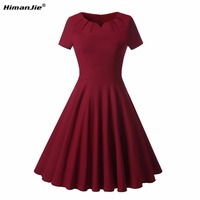 HimanJie Summer Plus Large Size 50s Retro Swing Dress 2 Color Cotton Sexy O Neck Slim