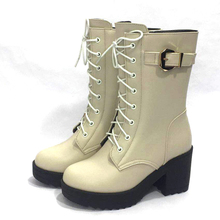AIYUQI 2020 new high heeled fashion military boots women platform winter shoes women boots 1 pair genuine leather boots women