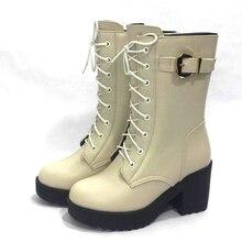 Aiyuqi 2020 Nieuwe Hoge Hakken Mode Militaire Laarzen Vrouwen Platform Winter Schoenen Vrouwen Laarzen 1 Paar Lederen Laarzen vrouwen
