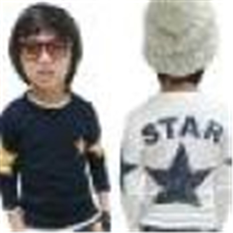 Long-sleeved shirt casual warm clothing young children's clothing baby boy long-sleeved star print T-shirt top