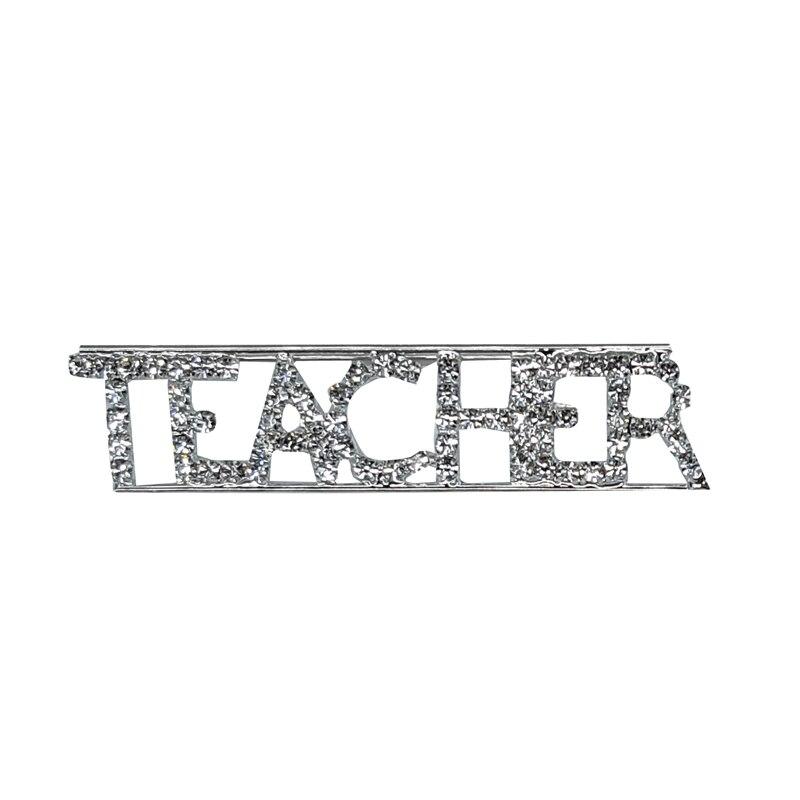 Custom Professions&Jobs Theme Crystal Lapel Pin TEACHER Word Brooch Gift Wholesale 6PCS/LOT FREE SHIPPING