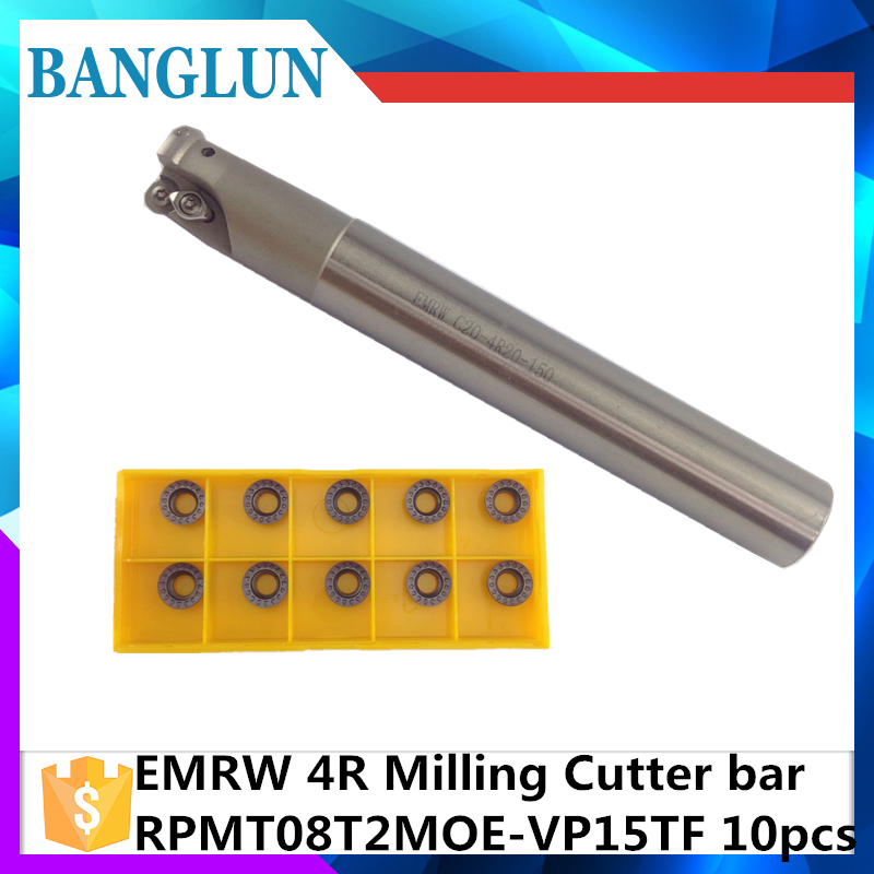 EMR C10 4R10 120 EMR C16 4R16 150   +10Psc RPMT08T2 Indexable Shoulder End Mill Arbor Cutting Tools, Milling Cutter Holder milling cutter bap300r c14 15 150 bore indexable shoulder end mill arbor mill cutting tools insert of carbide inserts apmt1135