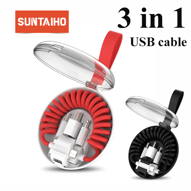Suntaiho Retractable Spring Micro USB Cable for iphone Xiaomi mi 9 Redmi note 7 micro to type c to usb springs for Samsung S10 P