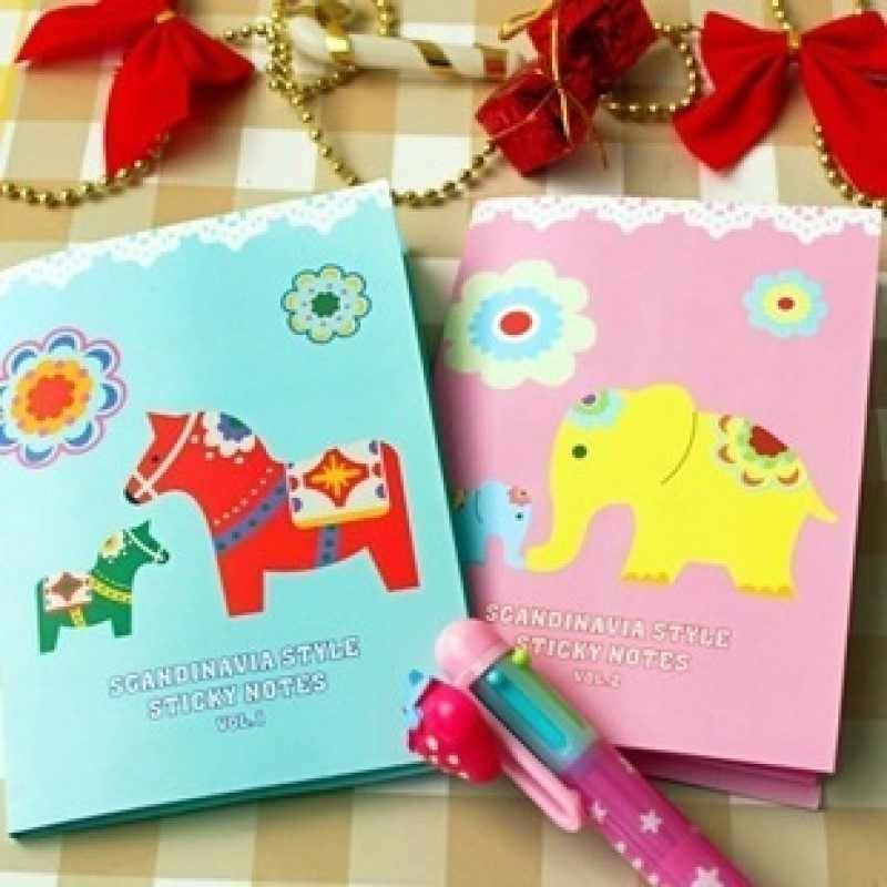 4 shapes in 1 cute elephant horse shape sticker note memo pad lovely cartoon design in 2 patterns for choice