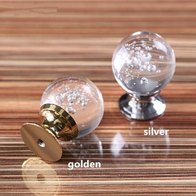 Us 490 30mm Gouden Wijn Kast Handgrepen Deluxe Bubble Helder Kristal Lade Knoppen Zilveren Kast Dressoir Meubels Deurgrepen Trekt In 30mm Gouden