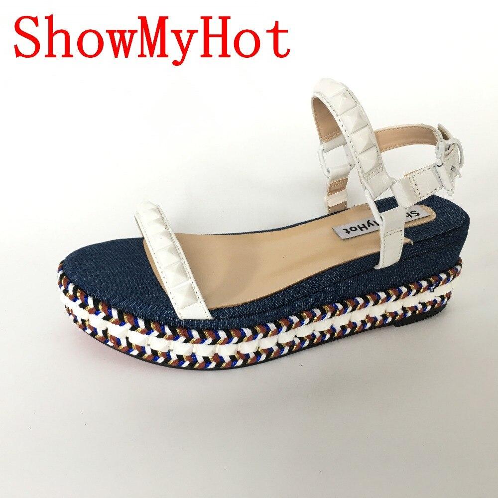 ShowMyHot Estate Tacchi Alti zapatos mujer Scarpe Donna Open Toe Sandali Romani femminili Scarpe di cuoio reali Incunea I Sandali Della Piattaforma-in Scarpe col tacco medio da Scarpe su  Gruppo 1