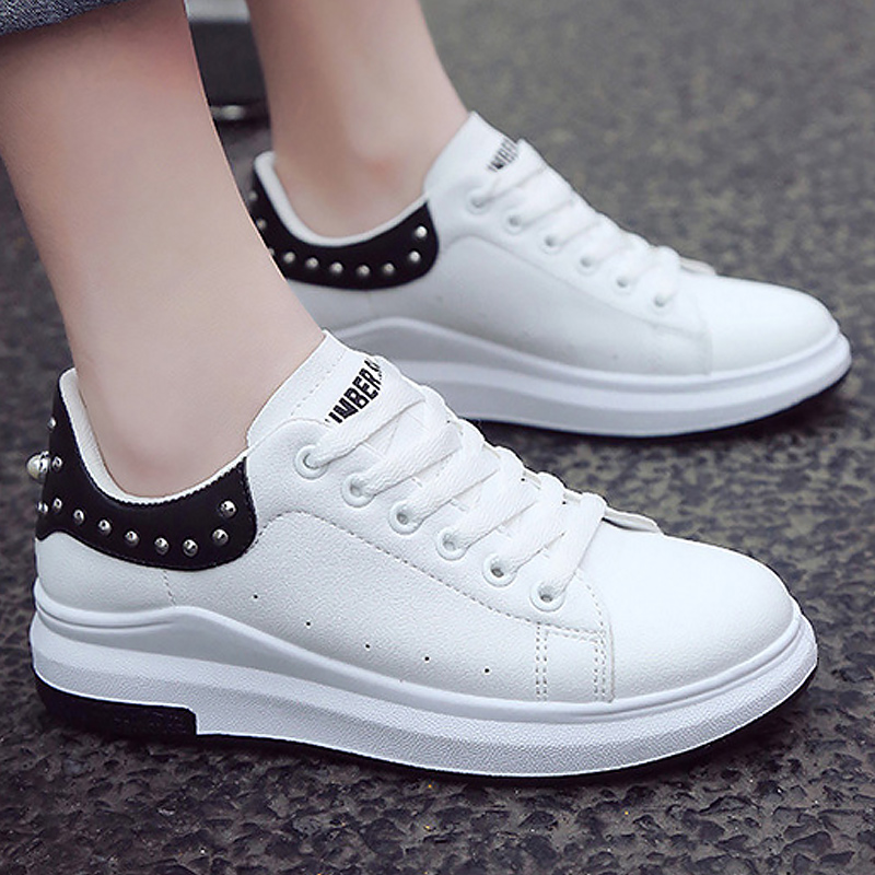 Wedge platform women shoes 2018 hot rivet sewing white sneaker lace-up spell color causal breathable hard-wearing pearl shoes free shipping candy color women garden shoes breathable women beach shoes hsa21