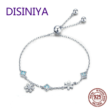DISINIYA  New Collection 925 Silver Ribbon Winter Snowflake Womens Bracelet Jewelry BSB001