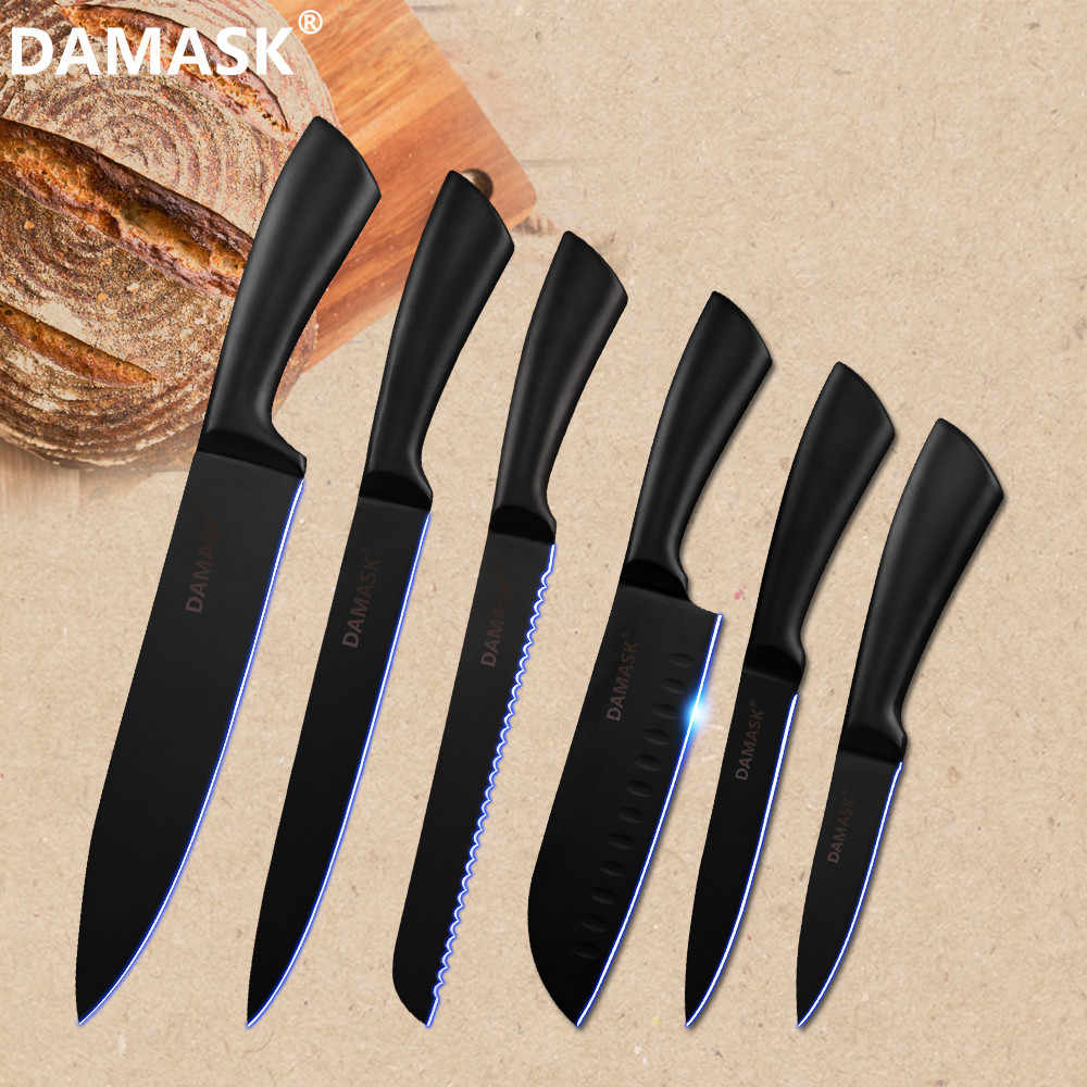 DAMASK Stainless Steel Kitchen Knife Chef Knives light Weight Handle Kitchen Knife Set Coating Non-Stick Sharp Blade Cutlery New