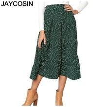 JAYCOSIN новые летние женские повседневные юбки в горошек с рюшами модные плиссированные юбки в горошек до щиколотки Falda je18