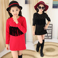 Girls plus thick velvet  winter models full Nail bead fringed full T-shirt &Baby Girl red clothes  11 Age teenage girl clothes