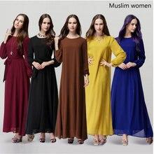 Мусульманское женское платье с длинным рукавом, Дубай, макси, Абая, jalabiya, исламское женское платье, шифоновая одежда, халат, кафтан, Марокканское