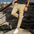Simwood primavera 2017 novas calças de algodão casuais dos homens slim fit calças moda plus size kx5543