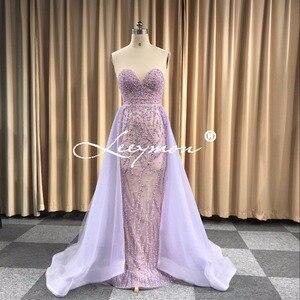 Image 5 - משלוח חינם כבד חרוזים סקסי חצוצרת שמלת ערב 2020 לפתוח בחזרה שרוולים קריסטלים נוצצים נשף שמלת תפור לפי מידה