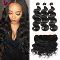Ear To Ear Lace Frontal Closure With Peruvian Body Wave Bundles 8a Grade Virgin unprocessed  Human Hair Extensions With Closure