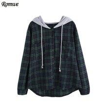 Romwe пуловер Женщины Худи кофты осень дамы плед кнопку карман толстовка с контрастным капюшоном
