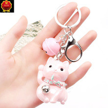 New Car Key Creative Cute Cat Key Chain Car hanging Key Ring Jewelry Hangingbag Accessories Key Rings Pendant Car Ornaments Girl fashion girl bag pendant fan shape tassels key chain car ornaments