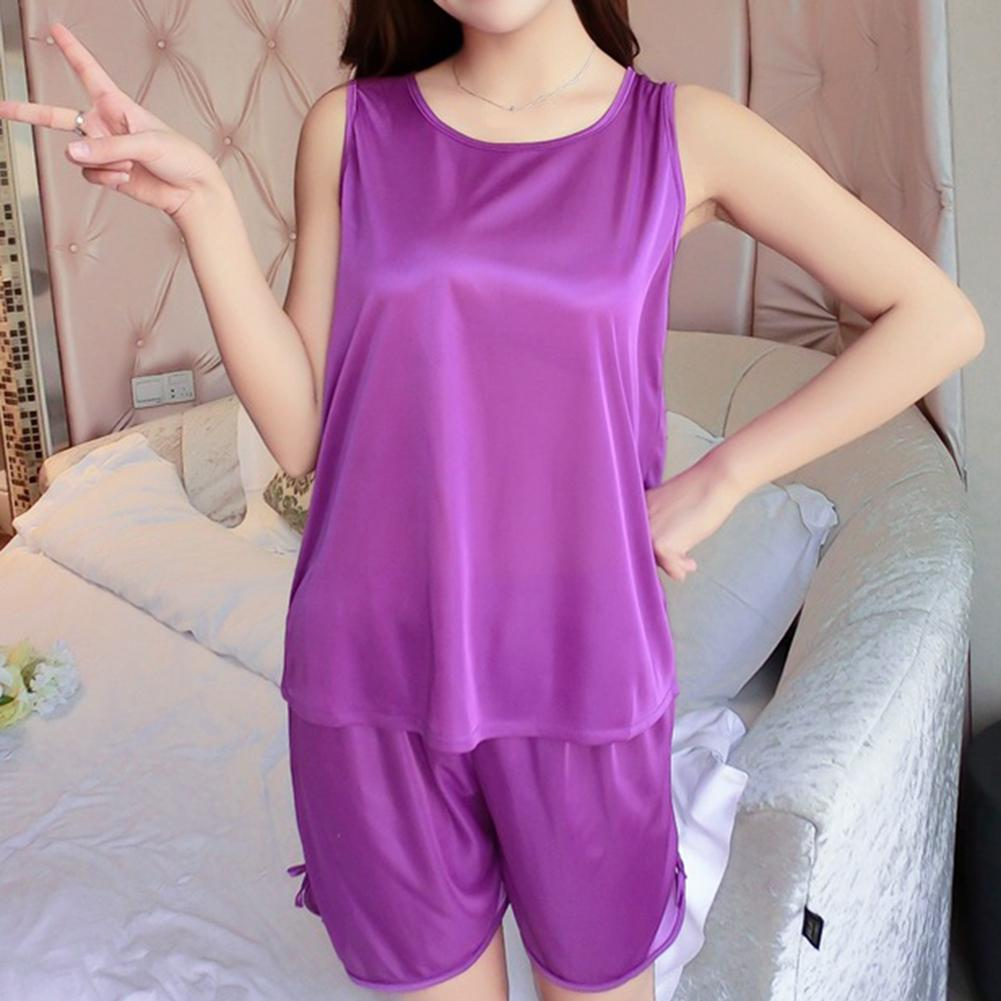 2 Pcs Women's   Pajamas     Set   Solid Color Sleeveless Shorts Sexy Sleepwear Gift
