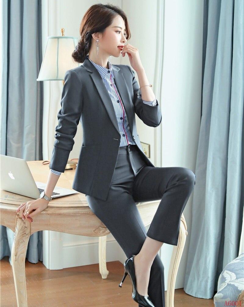 Ensemble Conception Femmes marine Noir Bleu Uniforme Formelle Pantalon Costumes gris Et Travail Styles D'affaires Dames Vêtements Blazer Bureau De Avec Veste Marine qxqSwT