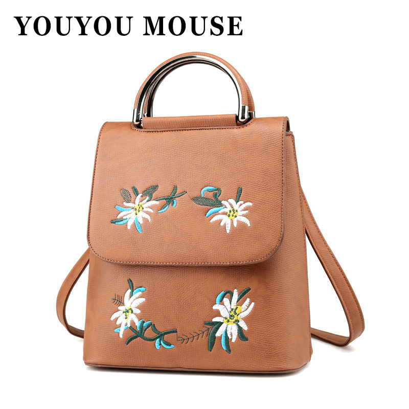 YOUYOU MOUSE Embroidery Design Women Backpack Fashion Floral Leather School Bag For Teenager Girls Shoulder Bag Ladies Backpacks women backpacks fashion pu leather shoulder bag small backpack women embroidery dragonfly floral school bags for girls