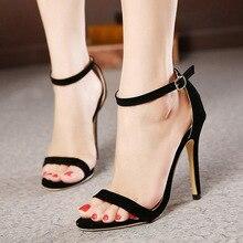 купить Fashion Women Ankle Strap Sandals Casual Flock Buckle Strap Thin Heels 11CM Open Toed High Heels Women Sandals Discount Pumps по цене 492.39 рублей