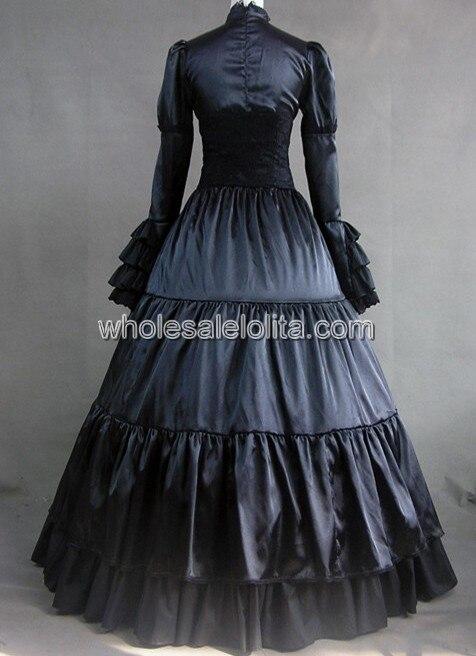 Длинные Рукава Черный Готический Викторианский Стиль Платье