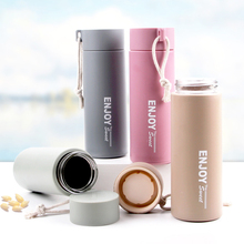 1pcs 420ml Plastic Glass Water Bottle Double Heat-resistant Cup Portable Anti-smashing Anti-breaking Cups for Students Men Women