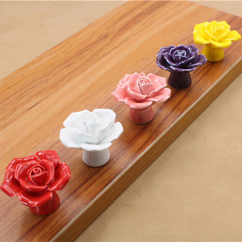Vintage Rose Flower Ceramic Knob Cabinet Drawer Kitchen Cupboard Pull Handle 4 colors in stock 8pcs set white vintage rose flower ceramic door knob cabinet drawer kitchen cupboard pull handle diy hd016