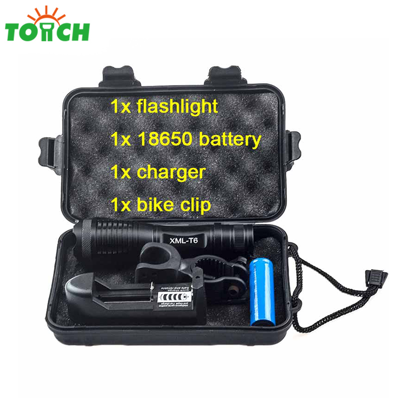 Cree xml T6 Kit Led Flashlight Powerful Rechargeable Lampe Torche Bicycle Torch with 18650 Battery+Charger+Bike Clip+Gift Box 5mode led flashlight cree xml t6 tactical lamp with clip 18650 rechargeable battery eu us ac car charger bicycle torch holder