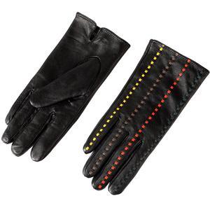 Image 2 - Boutique pour acheter les meilleurs gants féminins, cuir véritable, adulte, coton doublé, élégant gants en cuir noir barre de couleur, gants en cuir