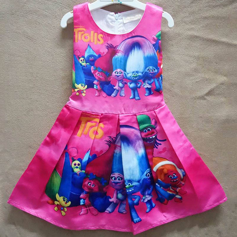 Hot New 2018 Girls Floral Cartoon Print Princess Party Dress Vestidos Kids Costume 2-10Y Dresses For Girls