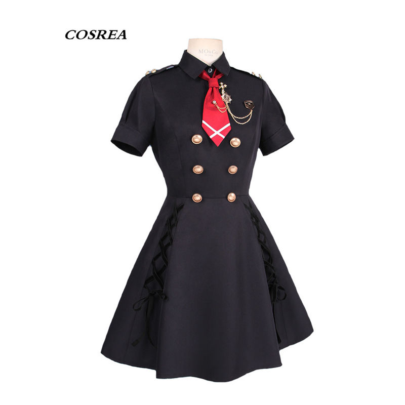 COSREA Hot Game Azur Lane Cosplay Costume Black Uniform Dress With Tie Costumes Halloween Party For Adult Woman