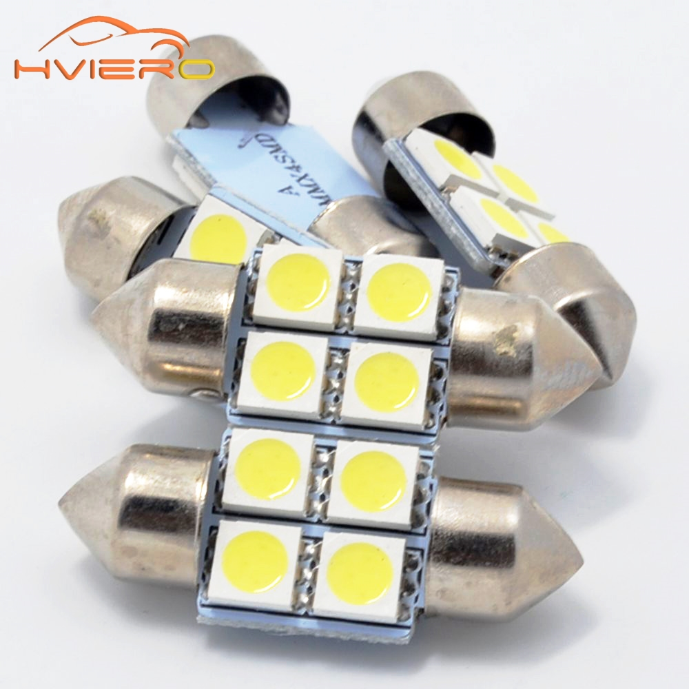 White 10Pcs 5050 4smd 4 smd 31mm C5W LED Micro General Car Interior Festoon Dome LED Light Bulbs Lamp DC 12V Interior Lights