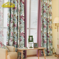 Custom curtains American Jacquard elegant garden purple floral splicing cloth blackout curtain tulle drapes N417