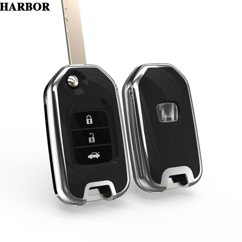 Harbor Car Key Covers Case for Honda FIT XRV VEZEL CITY JAZZ CIVIC Civic Crider CRV Smart Remout Key Holder Bag Accessories fuzik keyless go smart key keyless entry push remote button start car alarm for honda accord odyssey crv civic jazz vezel xrv