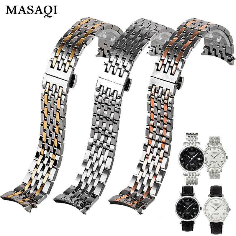 MASAQI Stainless Steel Watch Band for Tissot T035 PRC200 T41 Watchband Butterfly Buckle Strap L164 L264 High Quality Strap все цены