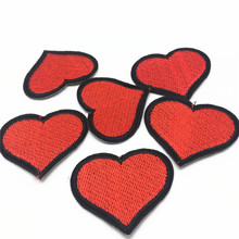 50pcs Love Heart Patch Iron On Patches for Clothes Embroidery Applique Jeans DIY Sticker Hat Coat