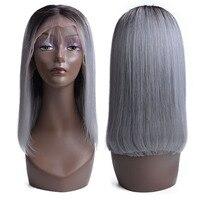 USEXY Окаймленный парик из бразильских человеческих волос 13*4 кружева фронтальной парик Волосы remy из швейцарского кружева для парика T1b/серый