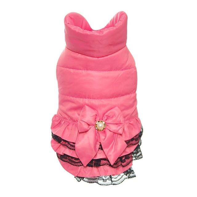Ветронепроницаемые розовые жакеты для собак, кружевное платье, костюм с двумя ножками, зимнее теплое пальто, кружевные пиджаки, одежда для маленькой собаки